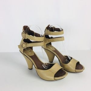 Chocolate Negro Beige Ankle Strap Leather Heel